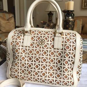 TORY BURCH White Tan GORGEOUS SHOULDERBAG Handbag